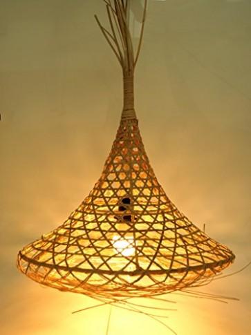Guru-Shop Design Deckenlampe / Deckenleuchte Tabana - in Bali Handgemacht aus Naturmaterial, Rattan, Baumwollstoff, 60x52x52 cm, Dekolampe Stimmungsleuchte