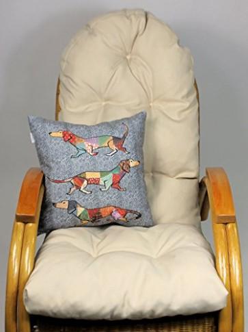 Auflage / Polster für Schaukelstuhl , Liegestuhl , Ersatzpolster Gr. 130 x 50 x 12 cm, Fb. beige + Zierkissen 40 x 40 cm Jocker