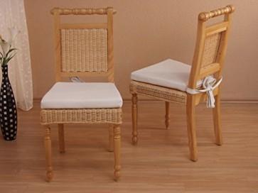 Stuhl (2er Pack) ohne Sitzkissen Farbe: Beige gebeizt lackiert