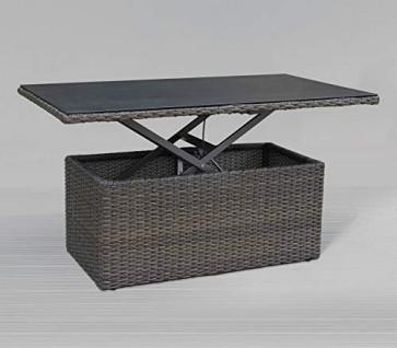 Gartentisch Poly Rattan Couchtisch grau Glas variable Höhe Gartenmöbel Set Tisch