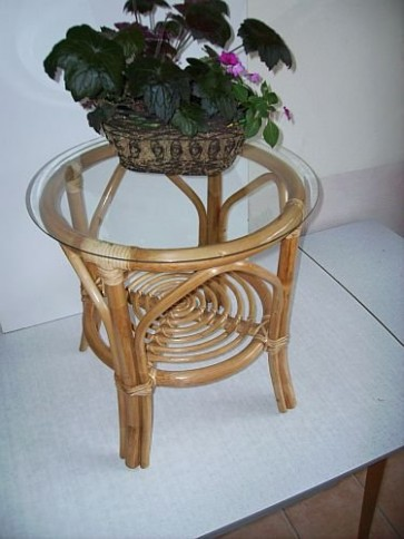 Rattan Tisch honig mit Glasplatte