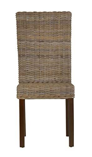 MiaMöbel Esszimmerstuhl 46x97x47 cm Modern Massivholz Rattan Mahagoni Grau