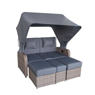 greemotion XXL Rattan-Lounge Orlando mit Dach - Gartensofa mit Auflagen in Grau & Ablage - 2-Sitzer Garten-Sofa mit verstellbarer Rückenlehne, Couch aus Polyrattan für Terrasse & Balkon