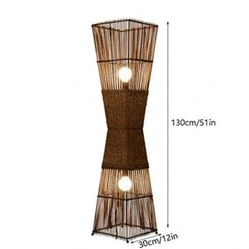 TangMengYun Südostasiatische Retro Stehlampe, Rattan Standard Lampe für Wohnzimmer Esszimmer, braune Stehleuchte mit Fußschalter (D30 * H130CM)