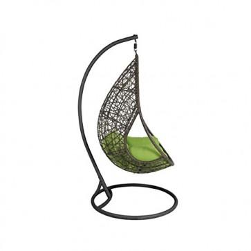 greemotion Rattan Hängesessel Kuba in Braun mit Gestell in Anthrazit Grau - Garten Rattansessel zum Aufhängen - Korbsessel hängend mit Auflage in Grün für Indoor & Outdoor
