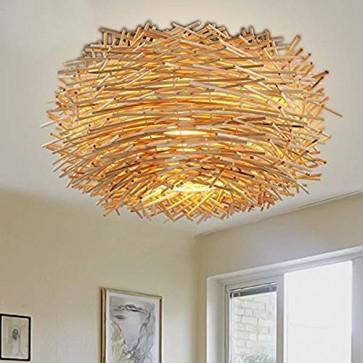 BLYC- Innovative US-amerikanischer Country Schlafzimmer Decke Lampe Rattan Vogels Nest Esszimmer Dach Lampe auf Beleuchtung 350mm