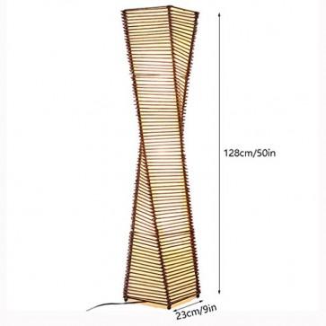 TangMengYun Moderne Stehlampe, klassische Rattan Stehlampe für Wohnzimmer Esszimmer, braune Stehleuchte mit Fußschalter (D23 * H128CM)