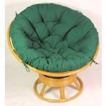 Rattan Papasan Drehsessel inkl. hochwertigen Polster Fb. dunkelgrün , D 110 cm , Fb. honig