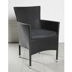 2er Set stapelbarer Armlehnstuhl aus der Möbelserie Genova in schwarz mit Sitzkissen für Garten, Terrasse oder Balkon - Gartenmöbel Stühle mit Kissen Terrassenstuhl Balkonstuhl Stuhl Gastro Bistro