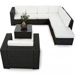 XINRO XXL 22tlg. Gartenmöbel Lounge Set günstig + 1x (1er) Lounge Sessel - Lounge Möbel Polyrattan Sitzgruppe Garnitur - In/Outdoor - mit Kissen - handgeflochten - schwarz