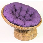 Rattan Papasan Sessel inkl. hochwertigen Polster, dichtgeflochten, D 110 cm, Fb. koobo Brown