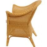 korb.outlet Extra Breiter Rattansessel Natur in der Farbe Honig inkl. Polster Beige - Rattanstuhl Lounge