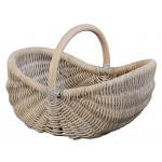 Einkaufskorb / Bügelkorb aus Rattan / Farbe Vintage Weiss