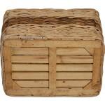 Stabiler Kaminholzkorb, Flechtkorb mit eingearbeitetem Jutestoff / Holzkorb aus unbehandeltem Natur-Rattan, Hell - Braun gestreift