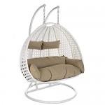 Home Deluxe - Polyrattan Hängesessel - Twin weiß - Für Zwei Personen - inkl. Gestell, Sitz- und Rückenkissen