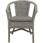 korb.outlet Stapelbarer Rattan-Sessel/Stuhl aus Natur-Rattan inkl. Polster in der Farbe Royal Grau