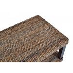 MiaMöbel Couchtisch 100x48x45 cm Modern Bananenblatt-Geflecht Massivholz Mahagoni Rattan Natur