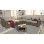 Rattan Lounge CORNER Rattan-Sofa mit Beistelltisch - inkl. Polsterauflagen - Sand-Beige