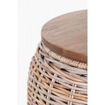"""Tisch rund Beistelltisch Kaffeetisch Rattan """"Fox"""" 43 x 44 cm Koobo Grey Natur"""