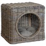 Katzenhöhle aus unbehandeltem Rattan inklusive Polster / Tierkorb auch als Sitzhocker nutzbar (Grau)