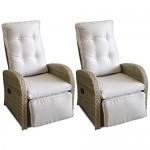 2er Set Polyrattan Relaxsessel Gartensessel Fernsehsessel Rattansessel Loungesessel mit Fußteil stufenlos verstellbar Grau/Beige + Auflage Grau