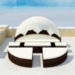 vidaXL Sonneninsel Poly Rattan Lounge Sonnenliege Gartenlounge Gartenliege Sitzgarnitur