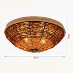 Retro runde LED Deckenlampe Schlafzimmer Wohnzimmer Bambus & Rattan Stricken Deckenleuchte Korridor Bar dekorative Deckenleuchte (42 * 16cm)