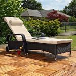 Melko® Polyrattan Sonnenliege Gartenliege, verstellbar, wetterfest, inkl. Auflage verschiedene Modelle (213 x 76 x 52 cm, Schwarz)
