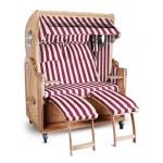 Strandkorb Kampen Spezial 2-Sitzer Rot Weiß gestreift komplett mit Bullauge