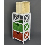 Kommode Beistelltisch 72 cm Höhe Bad Flur Küchen Kinder Regal in Weiß mit drei Rattan Körben