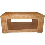 Couchtisch aus echtem Rattan / Rechteckiger Beistelltisch auf stabilem Holzrahmen (Naturmaterial mit Ablage)