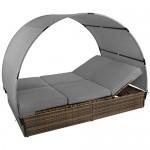 Sonnenliege MOSAMBIK Polyrattan Doppelbett 200 x 140 cm mit Sonnendach Sitzpolster mit abnehmbaren Bezügen Rücken- sowie Fußelemente 5-fach höhenverstellbar, Farbe:Schwarz-Braun meliert / Kieselstrand