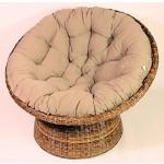 Rattan Papasan Sessel inkl. hochwertigen Polster , dichtgeflochten , D 110 cm , Fb. koobo brown