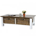 Mendler Couchtisch Tula, Wohnzimmertisch Beistelltisch Holztisch, 38x112x52cm 2 Körbe