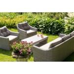 lifestyle4living Gartenbank 3 Sitzer aus Polyrattan Geflecht grau inkl. Kissen. Die Loungebank ist wetterfest, ideal für Garten, Terrasse und Balkon.