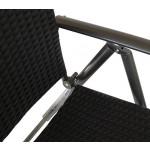 Klappsessel Imola 2Stück Alu beschichtet Rattan schwarz Rückenlehne verstellbar
