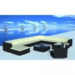 vidaXL Gartenmöbel Loungegruppe 35-tlg. Schwarz Poly Rattan