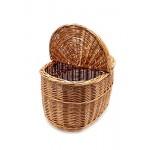 Rattankorb Weidenkorb Korb Picknickorb Stabiler Tragekorb mit 2 Deckeln aus Rattan geflochten K1-027