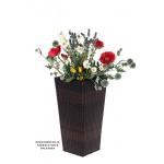 Geflecht-Pflanzsäule SDH17145 -B Braun Pflanzkübel Pflanzgefäße Blumenkübel Blumentopf für Blumen Polyrattan inkl Zinksätze für innen und außen, extra breit , Standfest. Fußbodenschonend (Größe L 41cm H x 22cm B)
