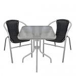 Multistore 2002 3tlg. Bistromöbel Bistrotisch mit geriffelter Tischglasplatte Glastisch Gartentisch 60x60cm Stapelstuhl Gartenstuhl mit Poly-Rattanbespannung Schwarz/Grau