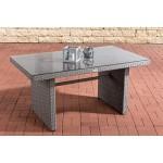 CLP Polyrattan-Gartentisch FISOLO mit Einer Tischplatte aus Glas I Wetterbeständiger Tisch aus Polyrattan Grau