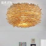 TYDXSD Innovative US-amerikanischer Country Schlafzimmer Decke Lampe Rattan Vogels Nest Esszimmer Dach Lampe auf Beleuchtung 350mm