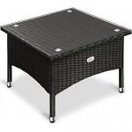 Deuba Polyrattan Tisch Beistelltisch Rattan Teetisch Gartentisch Glasplatte 50x50x45cm schwarz Garten Möbel