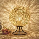 LED-Lampe Handgewebte Bunte Kugel-förmigen Rattan Tischlampe Schlafzimmer Nachttisch Nachtlicht Kreative Fernbedienung LED Rattan Rattan Leinen Schnur Rattan Ball Geburtstagsgeschenk Lampe,Yellow