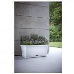XL Pflanzkasten mit Bewässerungssystem und Rollen für einfaches Umstellen, Maße L 80 x B 40 x H 34 cm, Farbe Weiss
