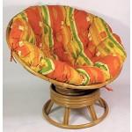 Rattan Papasan Drehsessel inkl. hochwertigen Polster Fb. gelb/orange , D 110 cm , Fb. honig