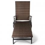 Vanage Sonnenliege mit Polyrattan Optik in braun - Gartenliege mit 2 Rädern - Liegestuhl ist klappbar - Gartenmöbel - Strandliege aus Aluminium - Relaxliege für den Garten, Terrasse und Balkon