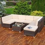 Melko Gartenset XXL, Poly Rattan, Lounge Sofa-Garnitur mit Glastisch, inklusive Kissen, mehrteilig, Braun