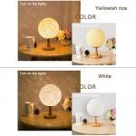 TDC LED Nachttischlampe Rattan Ball Stil, Hanf Linie Rattan Tischlampe Kreative Lampe Dekoration Nachtlicht für Schlafzimmer Romantische Geschenk für Geburtstag Weiß (20cm*32cm / 7.87*12.5Zoll )