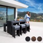 TecTake Luxus Poly Rattan Aluminium Bar Set mit 6 Barhocker + 2 Bezugsets + Schutzhülle, Edelstahlschrauben - diverse Farben - (Antik Braun | Nr. 401988)